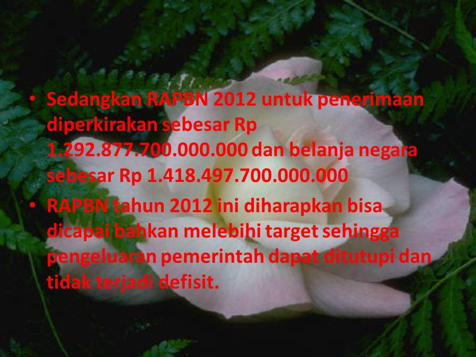 Sedangkan RAPBN 2012 untuk penerimaan diperkirakan sebesar Rp 1.292.877.700.000.000 dan belanja negara sebesar Rp 1.418.497.700.000.000 RAPBN tahun 2012 ini diharapkan bisa dicapai bahkan melebihi target sehingga pengeluaran pemerintah dapat ditutupi dan tidak terjadi defisit.