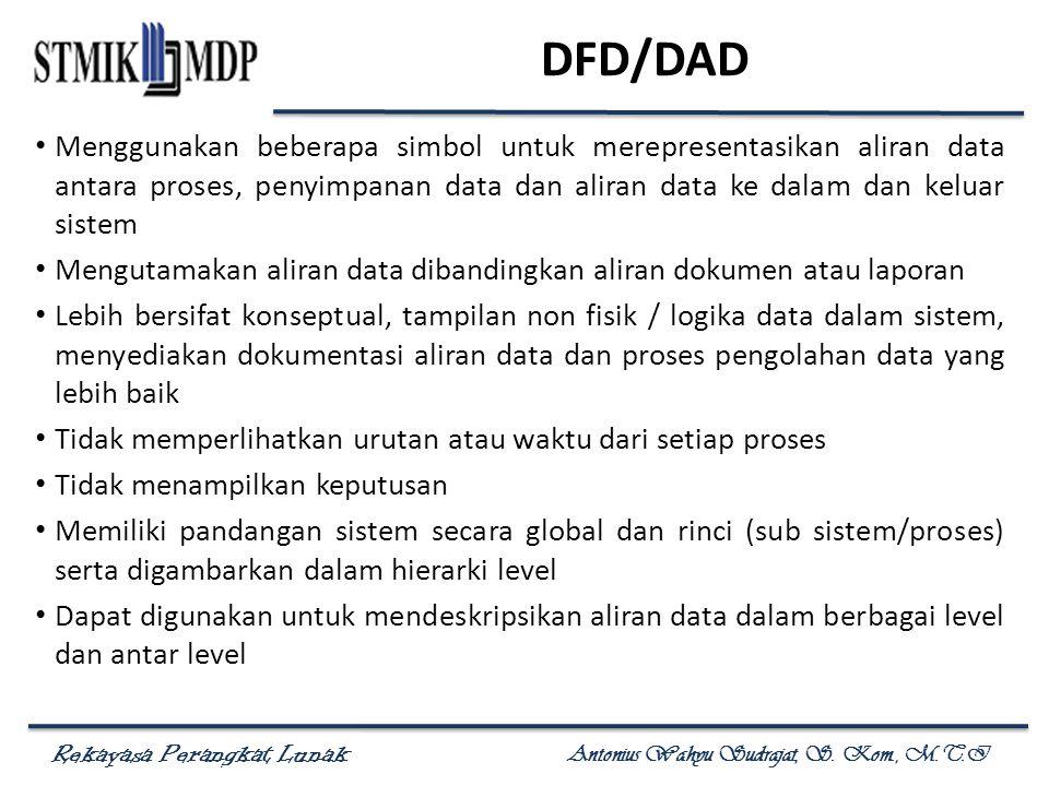 Rekayasa Perangkat Lunak Antonius Wahyu Sudrajat, S. Kom., M.T.I DFD/DAD Menggunakan beberapa simbol untuk merepresentasikan aliran data antara proses
