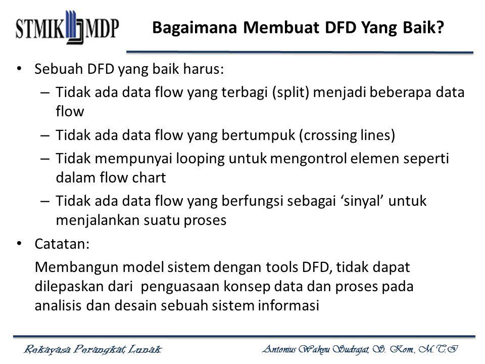 Rekayasa Perangkat Lunak Antonius Wahyu Sudrajat, S. Kom., M.T.I Bagaimana Membuat DFD Yang Baik? Sebuah DFD yang baik harus: – Tidak ada data flow ya