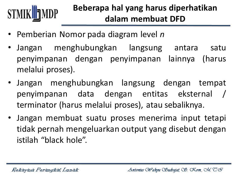 Rekayasa Perangkat Lunak Antonius Wahyu Sudrajat, S. Kom., M.T.I Beberapa hal yang harus diperhatikan dalam membuat DFD Pemberian Nomor pada diagram l