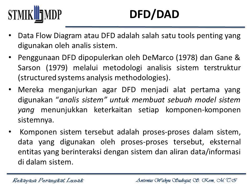 Rekayasa Perangkat Lunak Antonius Wahyu Sudrajat, S. Kom., M.T.I DFD/DAD Data Flow Diagram atau DFD adalah salah satu tools penting yang digunakan ole