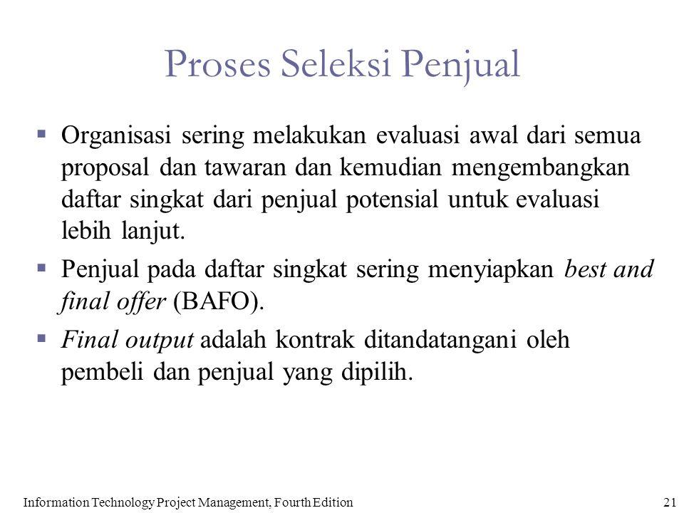 Proses Seleksi Penjual  Organisasi sering melakukan evaluasi awal dari semua proposal dan tawaran dan kemudian mengembangkan daftar singkat dari penj
