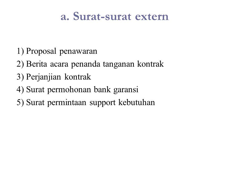 a. Surat-surat extern 1) Proposal penawaran 2) Berita acara penanda tanganan kontrak 3) Perjanjian kontrak 4) Surat permohonan bank garansi 5) Surat p
