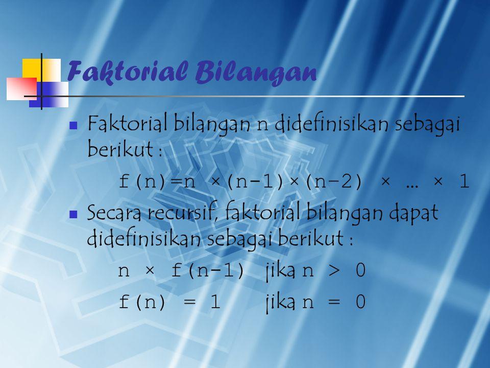 Faktorial Bilangan Faktorial bilangan n didefinisikan sebagai berikut : f(n)=n ×(n-1)×(n–2) × … × 1 Secara recursif, faktorial bilangan dapat didefinisikan sebagai berikut : n × f(n-1) jika n > 0 f(n) = 1 jika n = 0