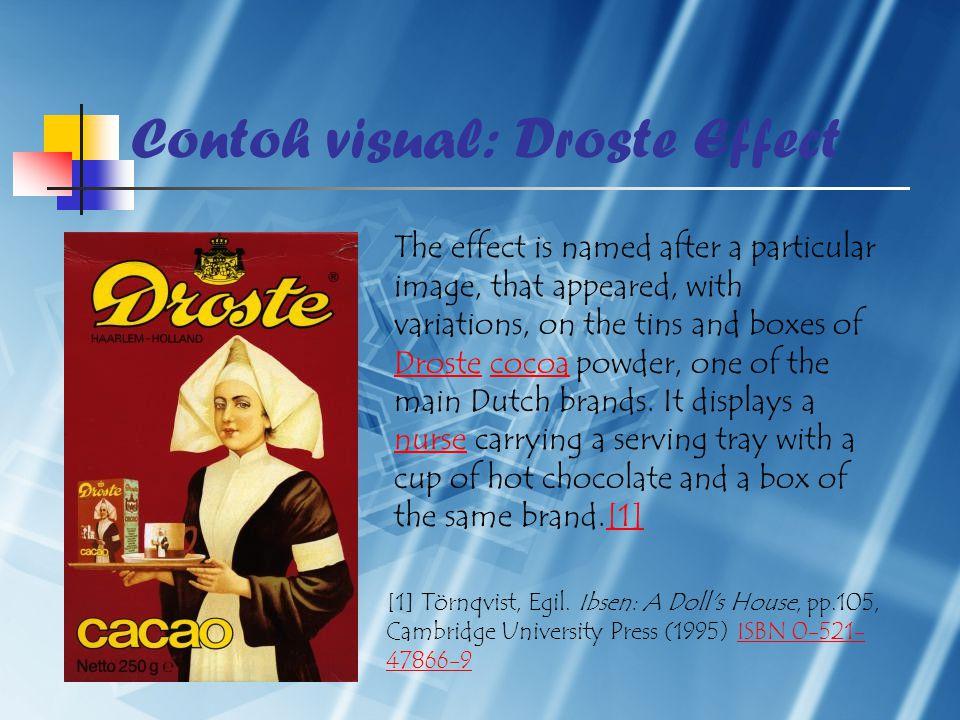 Contoh visual: Droste Effect [1] Törnqvist, Egil. Ibsen: A Doll's House, pp.105, Cambridge University Press (1995) ISBN 0-521- 47866-9ISBN 0-521- 4786