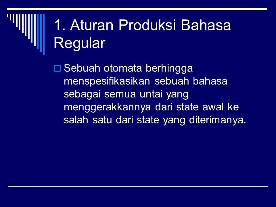 1. Aturan Produksi Bahasa Regular  Sebuah otomata berhingga menspesifikasikan sebuah bahasa sebagai semua untai yang menggerakkannya dari state awal