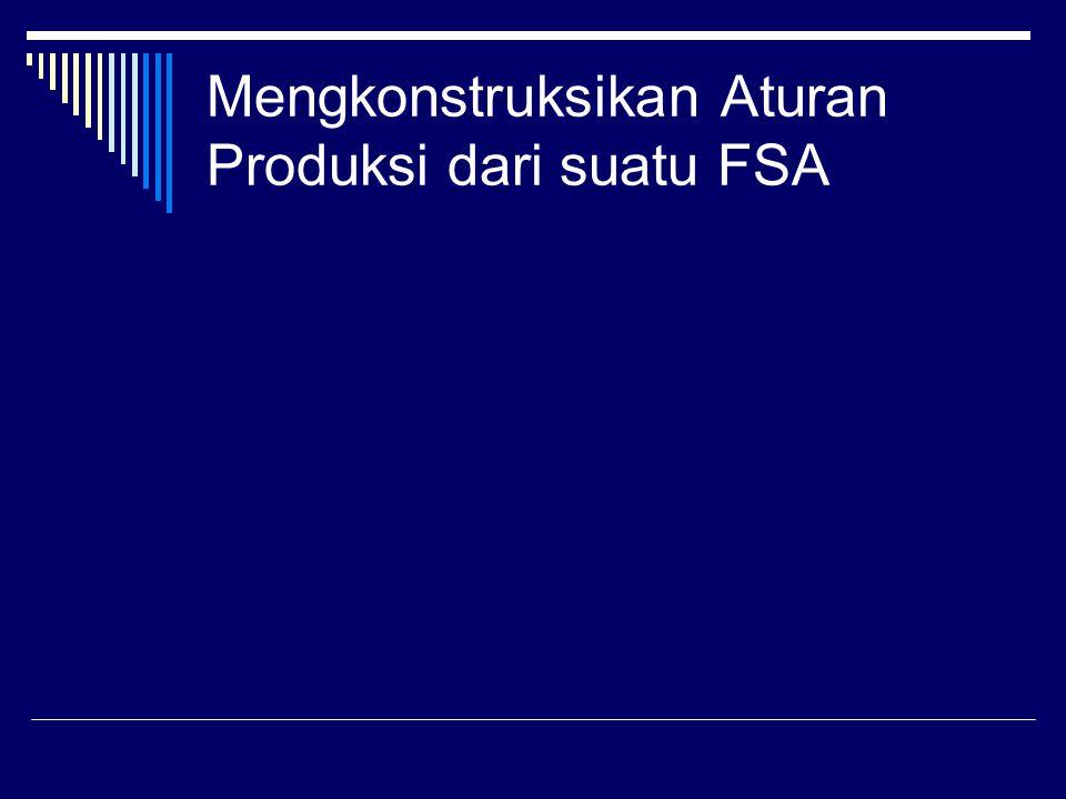 Mengkonstruksikan Aturan Produksi dari suatu FSA