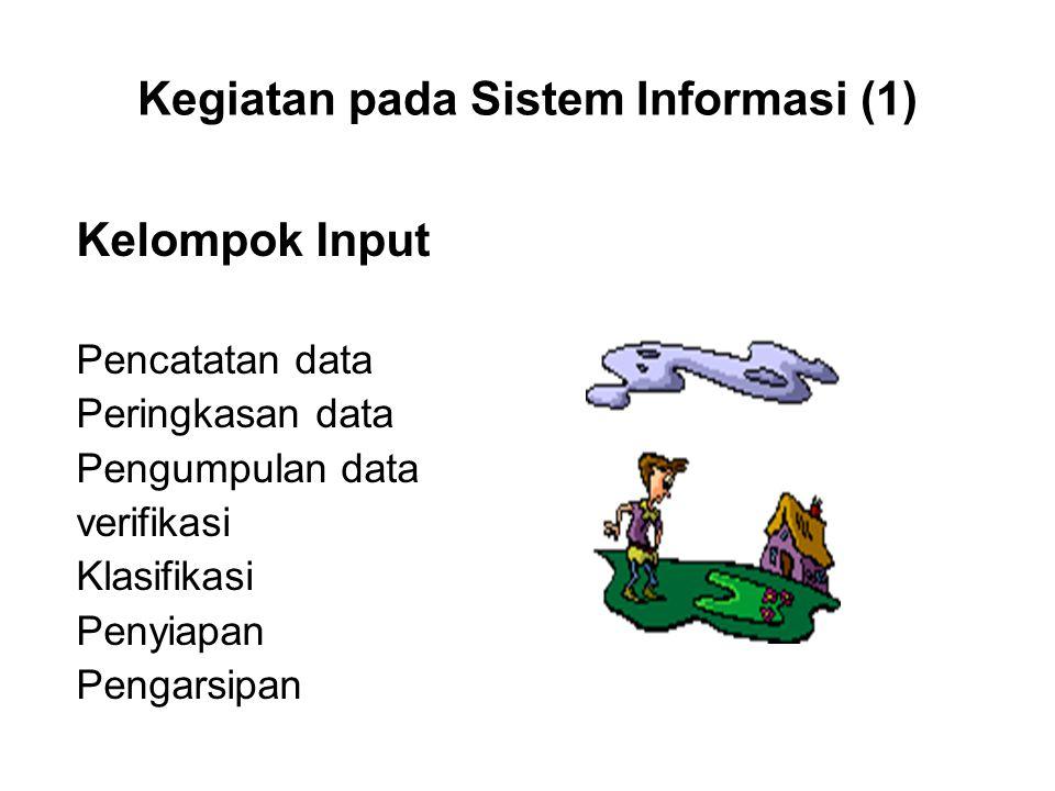Kegiatan pada Sistem Informasi (1) Kelompok Input Pencatatan data Peringkasan data Pengumpulan data verifikasi Klasifikasi Penyiapan Pengarsipan