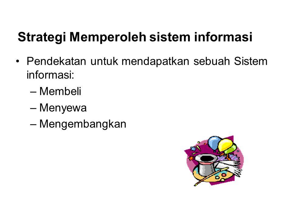 Pendekatan untuk mendapatkan sebuah Sistem informasi: –Membeli –Menyewa –Mengembangkan Strategi Memperoleh sistem informasi