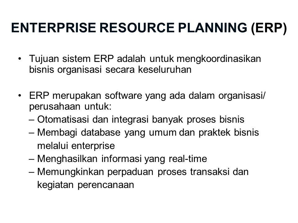 ENTERPRISE RESOURCE PLANNING (ERP) Tujuan sistem ERP adalah untuk mengkoordinasikan bisnis organisasi secara keseluruhan ERP merupakan software yang ada dalam organisasi/ perusahaan untuk: – Otomatisasi dan integrasi banyak proses bisnis – Membagi database yang umum dan praktek bisnis melalui enterprise – Menghasilkan informasi yang real-time – Memungkinkan perpaduan proses transaksi dan kegiatan perencanaan
