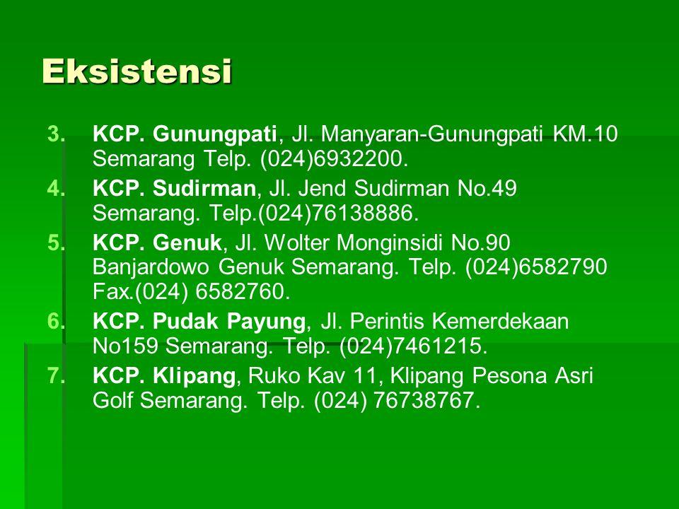 Eksistensi 3. 3.KCP. Gunungpati, Jl. Manyaran-Gunungpati KM.10 Semarang Telp. (024)6932200. 4. 4.KCP. Sudirman, Jl. Jend Sudirman No.49 Semarang. Telp