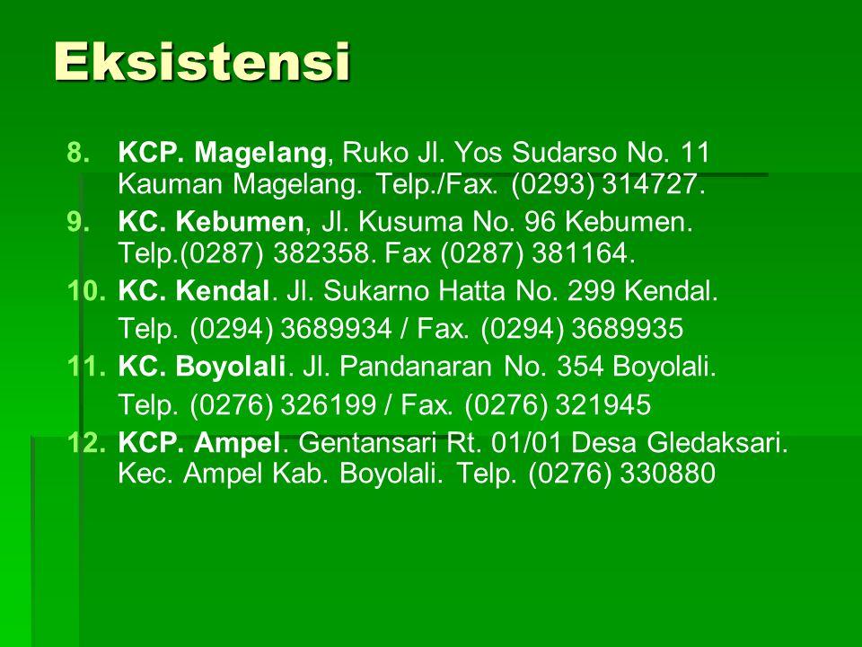 Eksistensi 8. 8.KCP. Magelang, Ruko Jl. Yos Sudarso No. 11 Kauman Magelang. Telp./Fax. (0293) 314727. 9. 9.KC. Kebumen, Jl. Kusuma No. 96 Kebumen. Tel