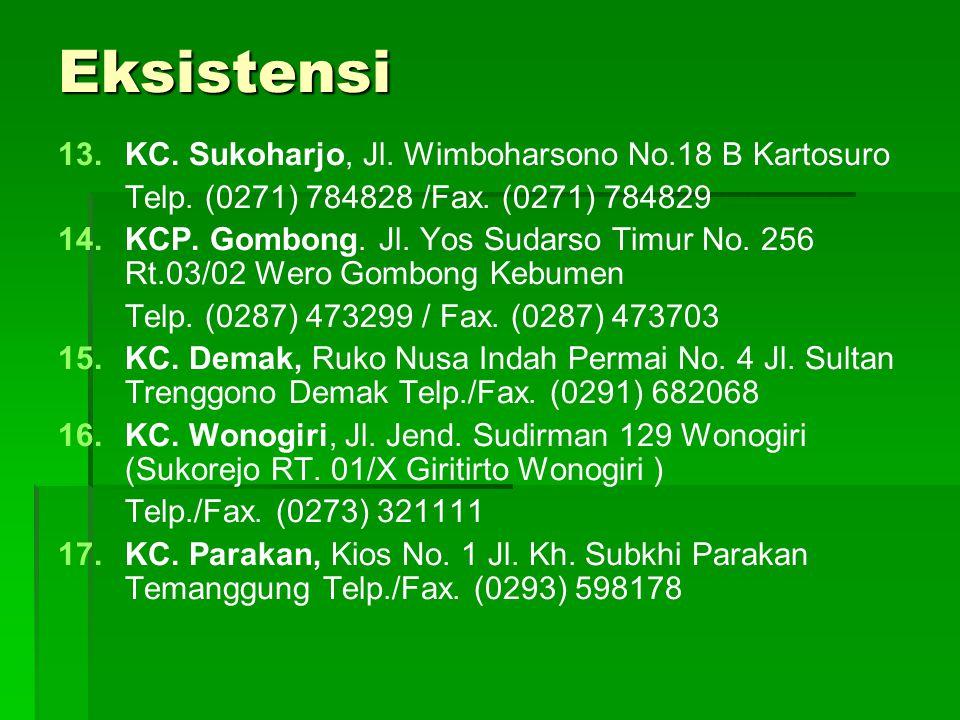 Eksistensi 13. 13.KC. Sukoharjo, Jl. Wimboharsono No.18 B Kartosuro Telp. (0271) 784828 /Fax. (0271) 784829 14. 14.KCP. Gombong. Jl. Yos Sudarso Timur