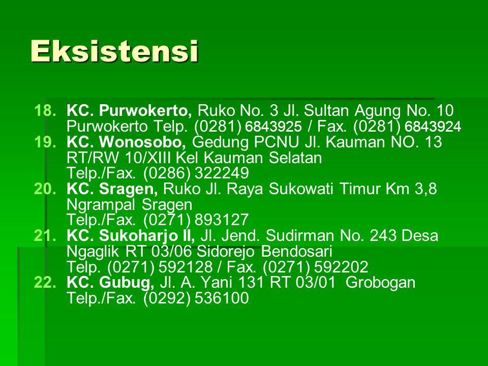 Eksistensi 18. 18.KC. Purwokerto, Ruko No. 3 Jl. Sultan Agung No. 10 Purwokerto Telp. (0281) 6843925 / Fax. (0281) 6843924 19. 19.KC. Wonosobo, Gedung