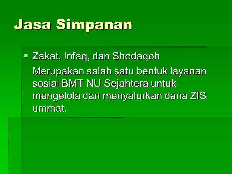 Jasa Simpanan  Zakat, Infaq, dan Shodaqoh Merupakan salah satu bentuk layanan sosial BMT NU Sejahtera untuk mengelola dan menyalurkan dana ZIS ummat.