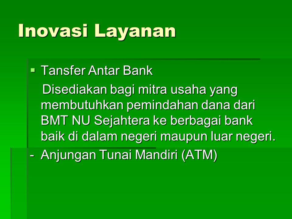 Inovasi Layanan  Tansfer Antar Bank Disediakan bagi mitra usaha yang membutuhkan pemindahan dana dari BMT NU Sejahtera ke berbagai bank baik di dalam