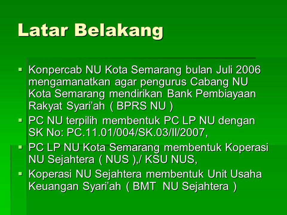 Latar Belakang  Konpercab NU Kota Semarang bulan Juli 2006 mengamanatkan agar pengurus Cabang NU Kota Semarang mendirikan Bank Pembiayaan Rakyat Syar