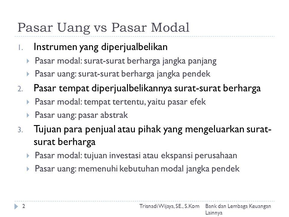 Pasar Uang vs Pasar Modal 1.