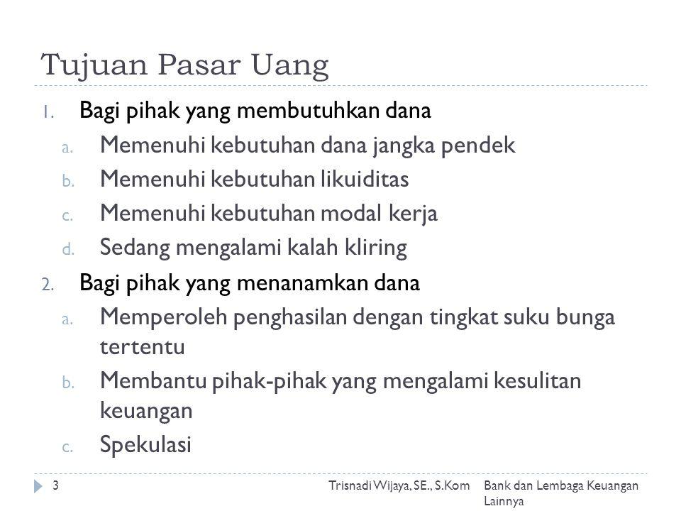 Tujuan Pasar Uang Trisnadi Wijaya, SE., S.Kom3 1. Bagi pihak yang membutuhkan dana a.