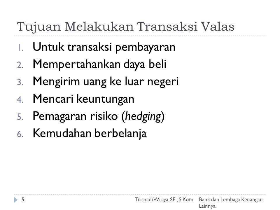 Tujuan Melakukan Transaksi Valas Trisnadi Wijaya, SE., S.Kom5 1.