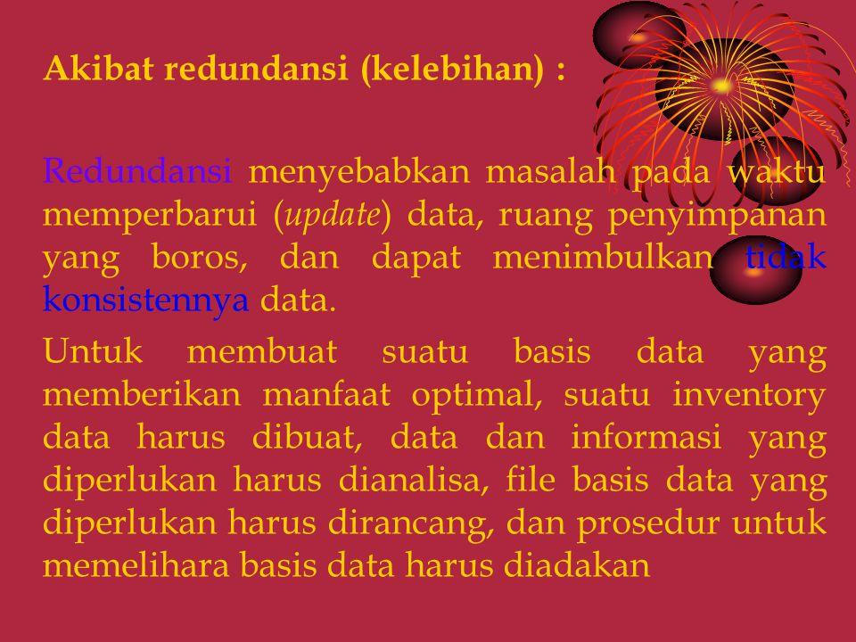 Akibat redundansi (kelebihan) : Redundansi menyebabkan masalah pada waktu memperbarui ( update ) data, ruang penyimpanan yang boros, dan dapat menimbulkan tidak konsistennya data.