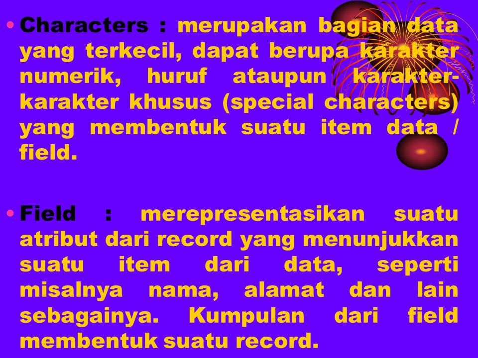 Characters : merupakan bagian data yang terkecil, dapat berupa karakter numerik, huruf ataupun karakter- karakter khusus (special characters) yang membentuk suatu item data / field.