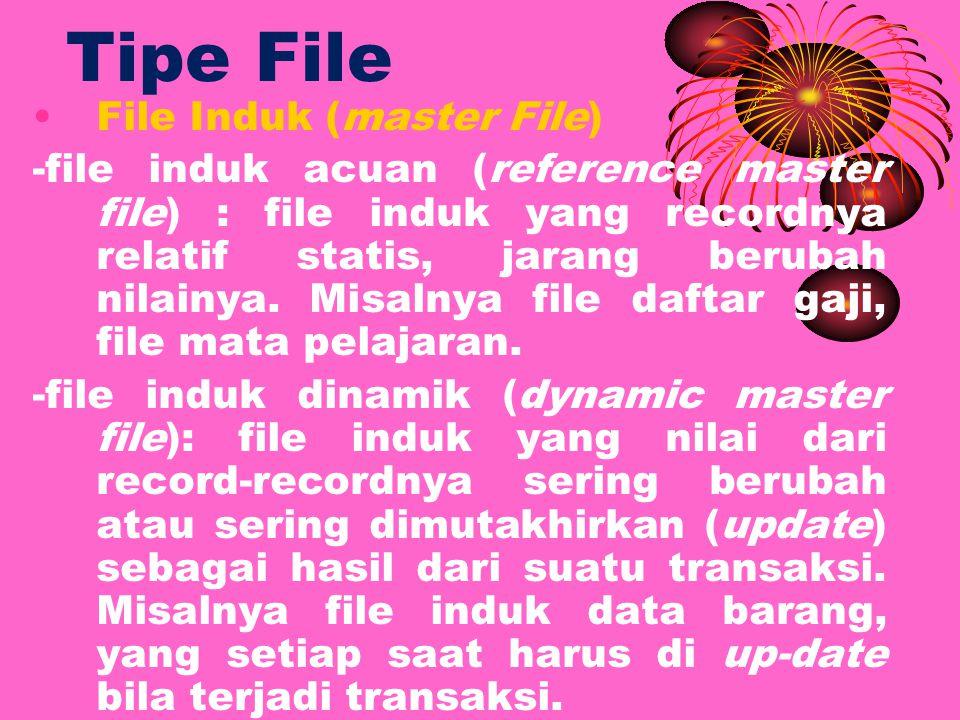 Tipe File File Induk (master File) -file induk acuan (reference master file) : file induk yang recordnya relatif statis, jarang berubah nilainya.