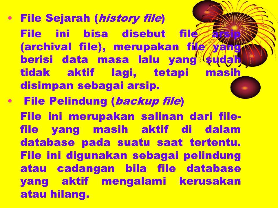 File Sejarah (history file) File ini bisa disebut file arsip (archival file), merupakan file yang berisi data masa lalu yang sudah tidak aktif lagi, tetapi masih disimpan sebagai arsip.