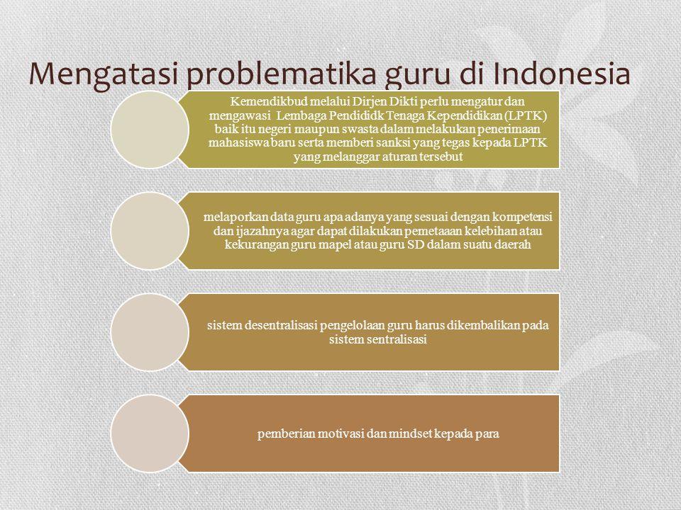Mengatasi problematika guru di Indonesia Kemendikbud melalui Dirjen Dikti perlu mengatur dan mengawasi Lembaga Pendididk Tenaga Kependidikan (LPTK) ba