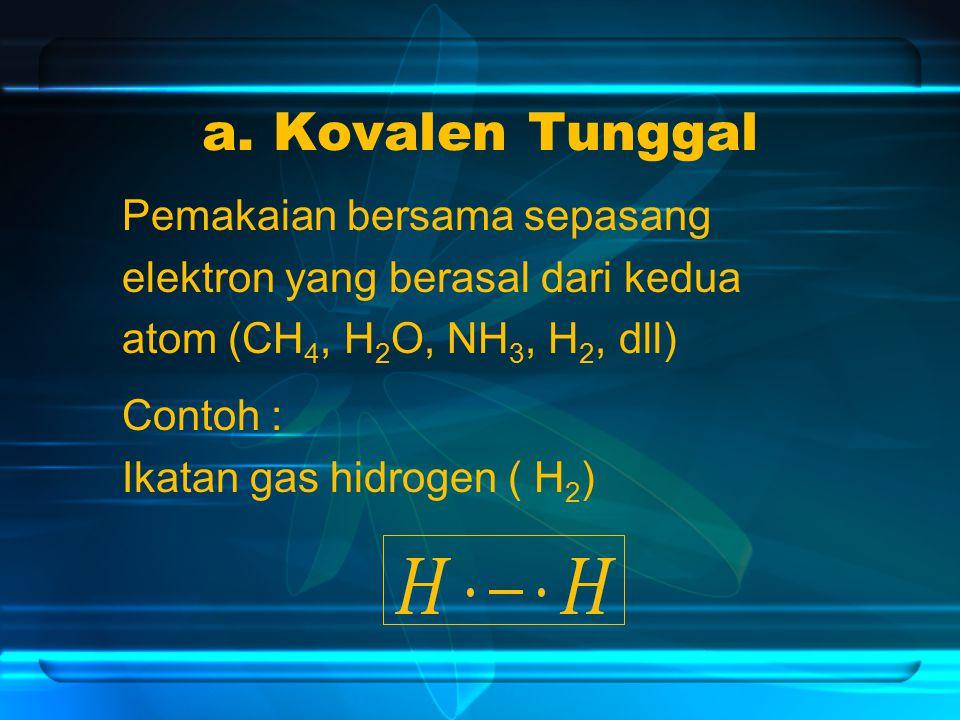 a. Kovalen Tunggal Pemakaian bersama sepasang elektron yang berasal dari kedua atom (CH 4, H 2 O, NH 3, H 2, dll) Contoh : Ikatan gas hidrogen ( H 2 )