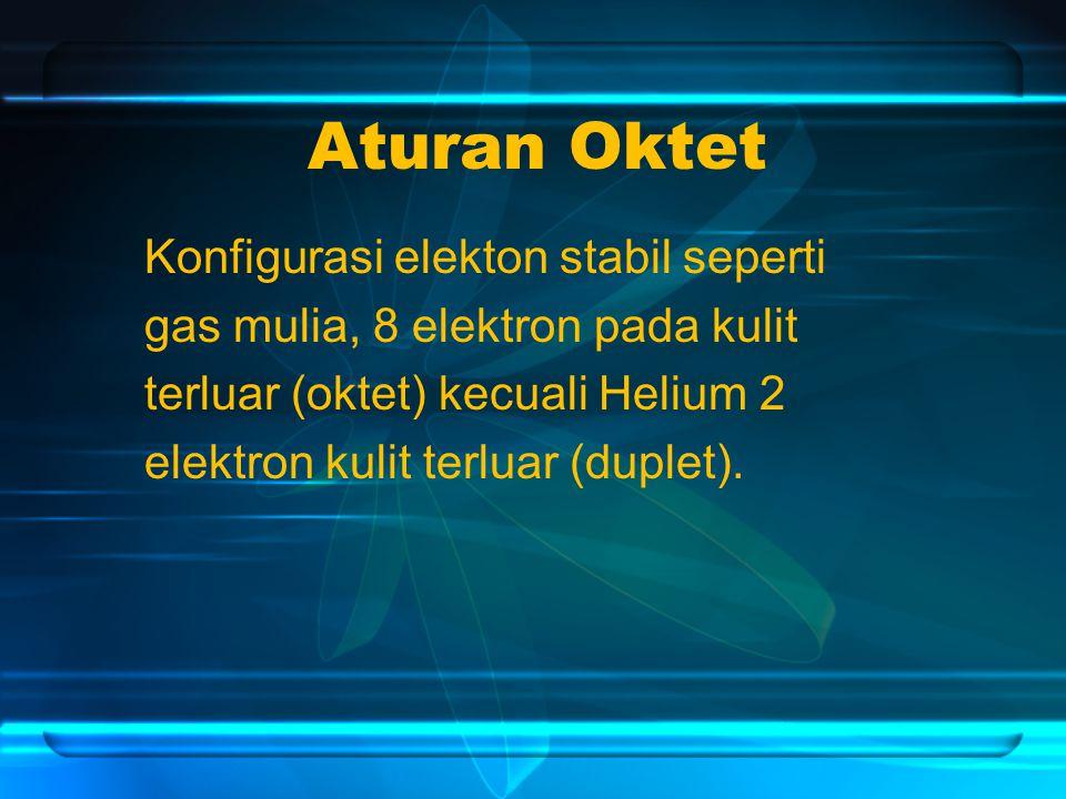 Aturan Oktet Konfigurasi elekton stabil seperti gas mulia, 8 elektron pada kulit terluar (oktet) kecuali Helium 2 elektron kulit terluar (duplet).