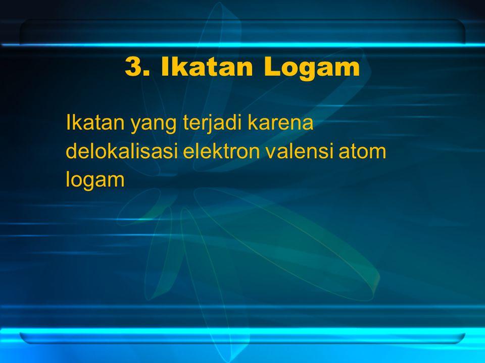 3. Ikatan Logam Ikatan yang terjadi karena delokalisasi elektron valensi atom logam