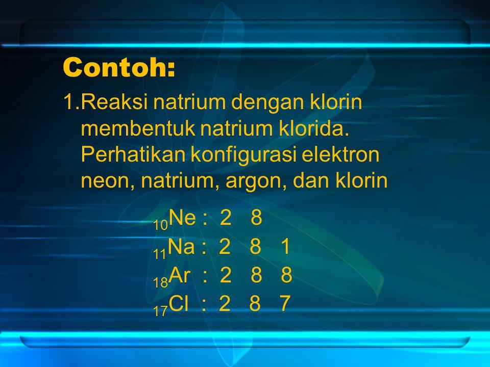 Contoh: 1.Reaksi natrium dengan klorin membentuk natrium klorida.