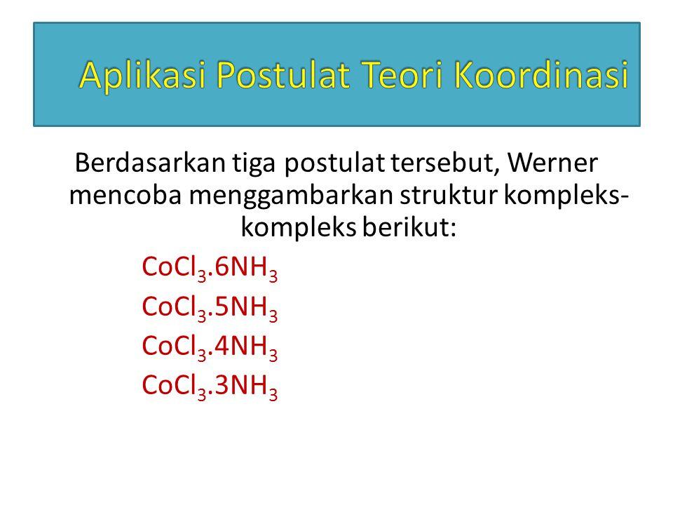 Berdasarkan tiga postulat tersebut, Werner mencoba menggambarkan struktur kompleks- kompleks berikut: CoCl 3.6NH 3 CoCl 3.5NH 3 CoCl 3.4NH 3 CoCl 3.3N