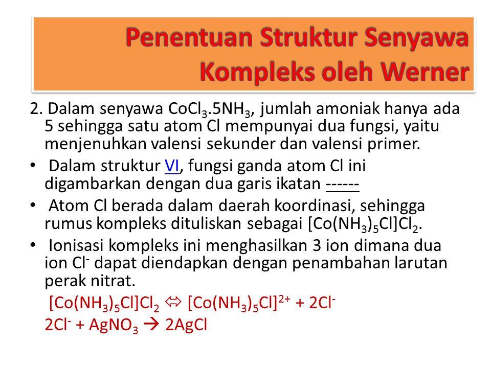 Penentuan Struktur Senyawa Kompleks oleh Werner 2. Dalam senyawa CoCl 3.5NH 3, jumlah amoniak hanya ada 5 sehingga satu atom Cl mempunyai dua fungsi,