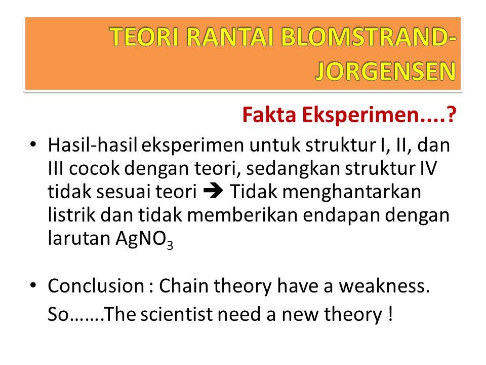 Fakta Eksperimen....? Hasil-hasil eksperimen untuk struktur I, II, dan III cocok dengan teori, sedangkan struktur IV tidak sesuai teori  Tidak mengha