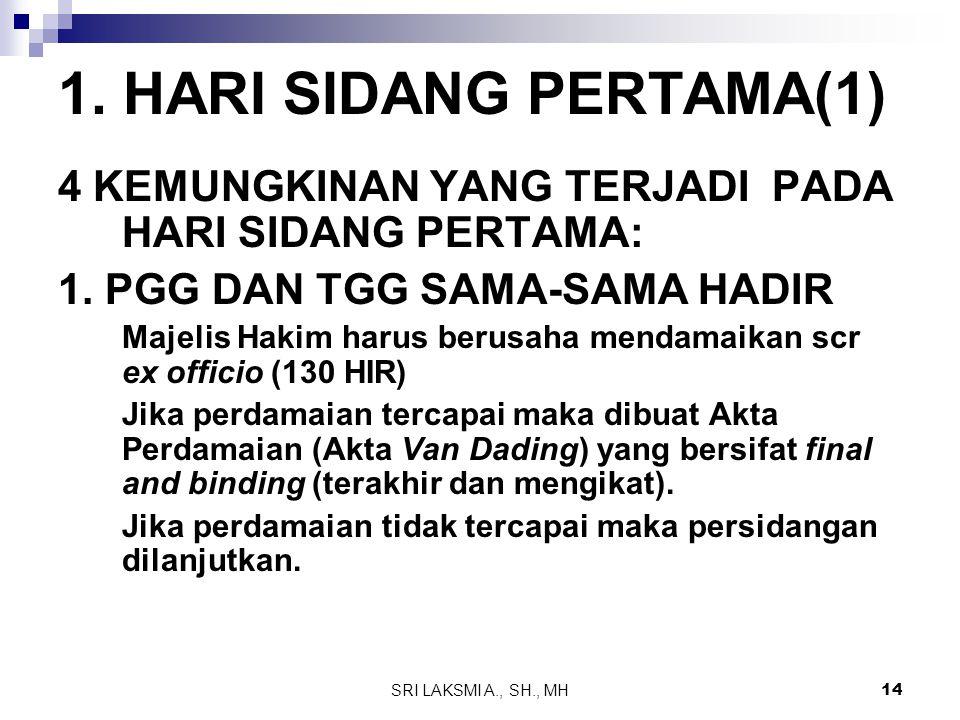 SRI LAKSMI A., SH., MH 14 1. HARI SIDANG PERTAMA(1) 4 KEMUNGKINAN YANG TERJADI PADA HARI SIDANG PERTAMA: 1. PGG DAN TGG SAMA-SAMA HADIR Majelis Hakim
