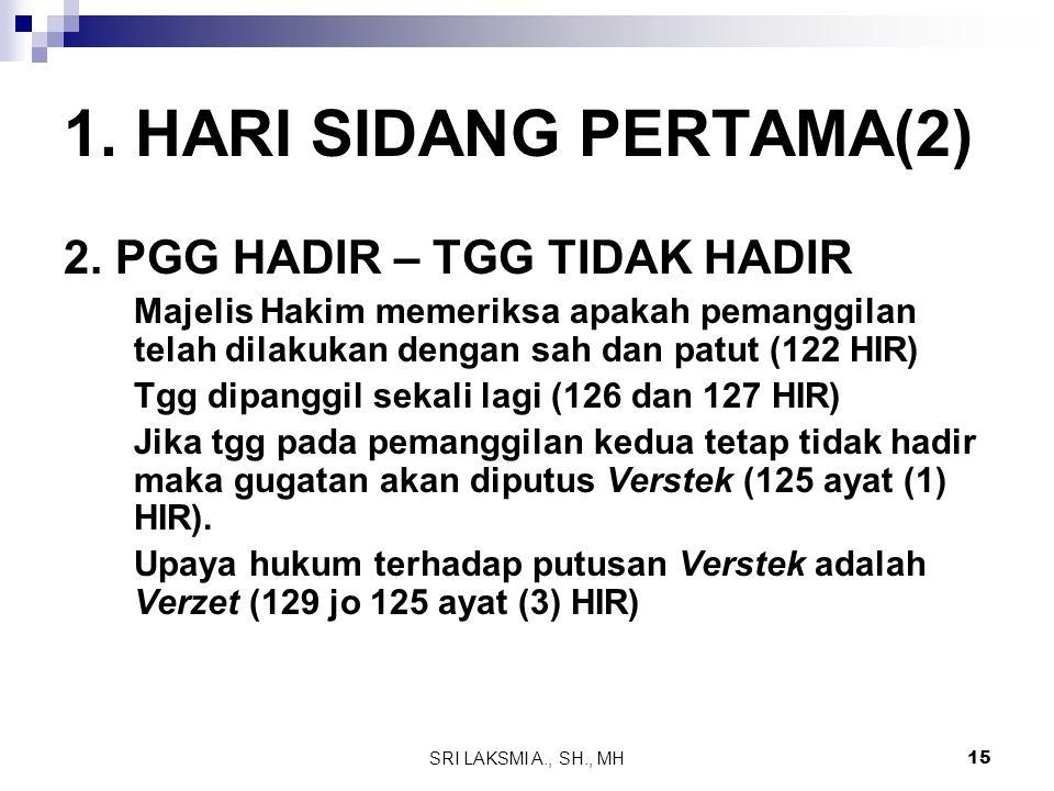 SRI LAKSMI A., SH., MH 15 1. HARI SIDANG PERTAMA(2) 2. PGG HADIR – TGG TIDAK HADIR Majelis Hakim memeriksa apakah pemanggilan telah dilakukan dengan s