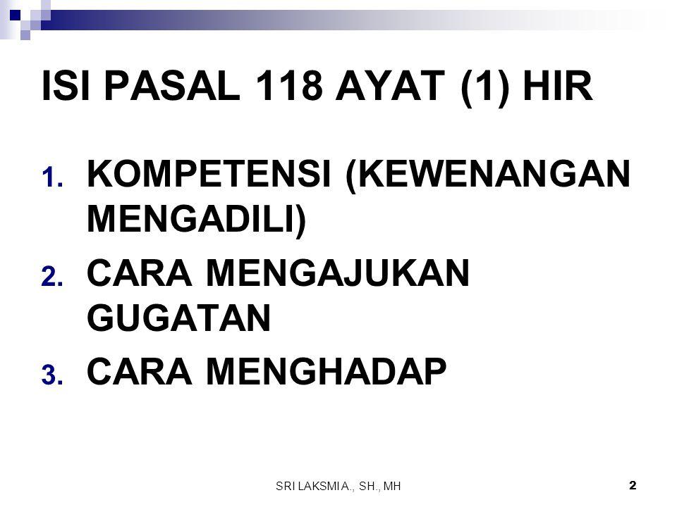 SRI LAKSMI A., SH., MH 2 ISI PASAL 118 AYAT (1) HIR 1. KOMPETENSI (KEWENANGAN MENGADILI) 2. CARA MENGAJUKAN GUGATAN 3. CARA MENGHADAP