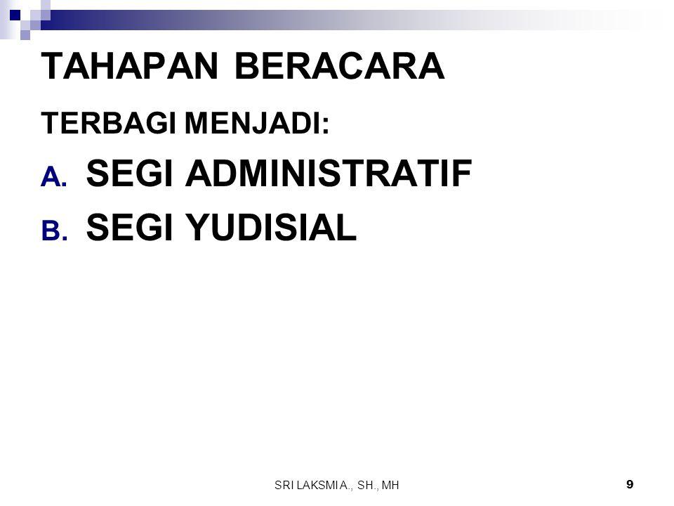 SRI LAKSMI A., SH., MH 9 TAHAPAN BERACARA TERBAGI MENJADI: A. SEGI ADMINISTRATIF B. SEGI YUDISIAL