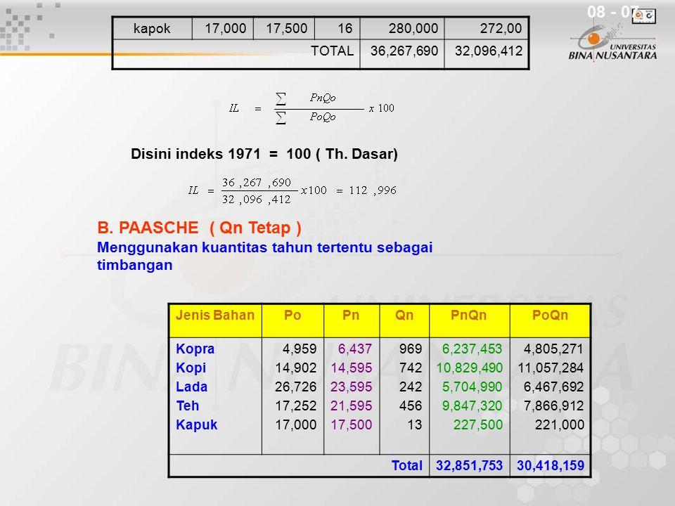 kapok17,00017,50016280,000272,00 TOTAL36,267,69032,096,412 Disini indeks 1971 = 100 ( Th. Dasar) B. PAASCHE ( Qn Tetap ) Menggunakan kuantitas tahun t