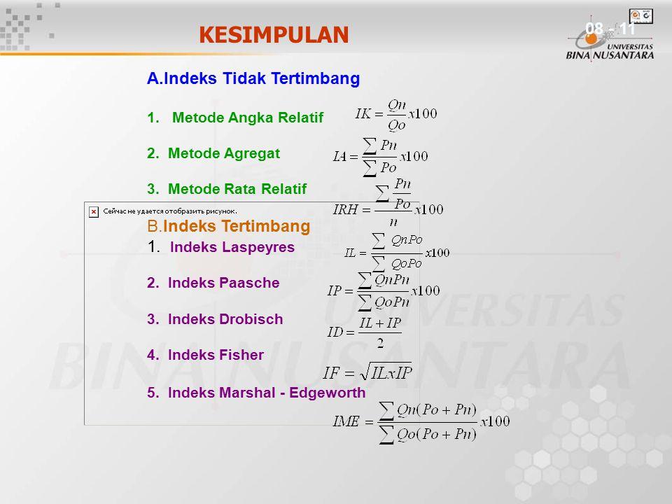 KESIMPULAN A.Indeks Tidak Tertimbang 1.Metode Angka Relatif 2. Metode Agregat 3. Metode Rata Relatif B.Indeks Tertimbang 1. Indeks Laspeyres 2. Indeks