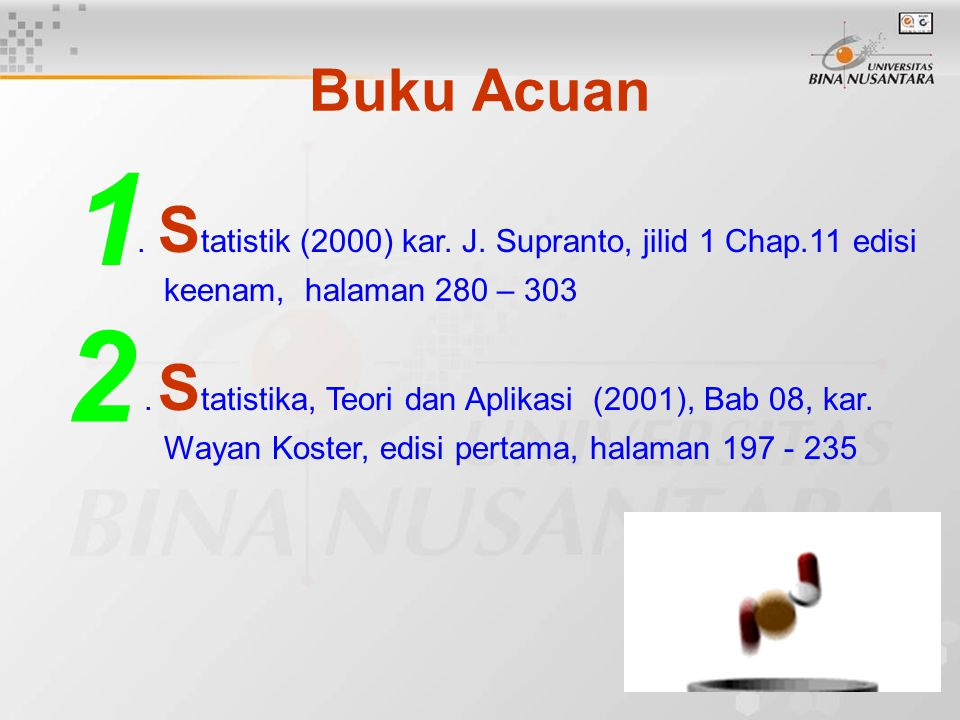 Buku Acuan. S tatistik (2000) kar. J. Supranto, jilid 1 Chap.11 edisi keenam, halaman 280 – 303. S tatistika, Teori dan Aplikasi (2001), Bab 08, kar.