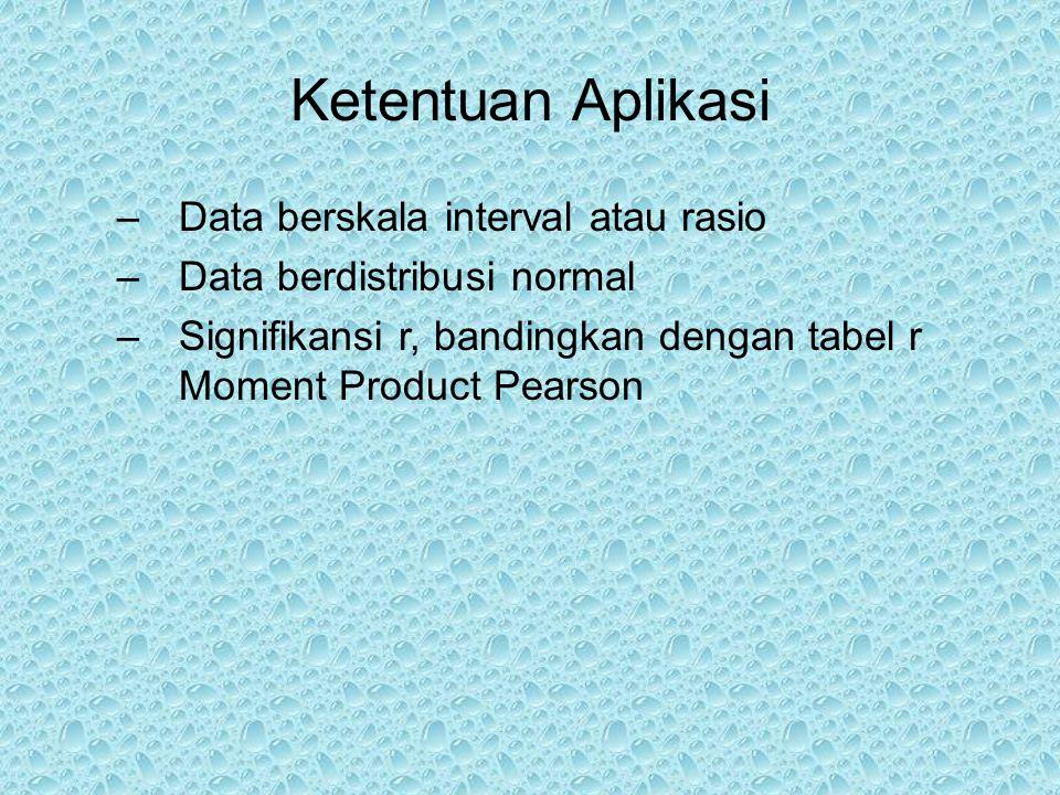 Ketentuan Aplikasi –Data berskala interval atau rasio –Data berdistribusi normal –Signifikansi r, bandingkan dengan tabel r Moment Product Pearson