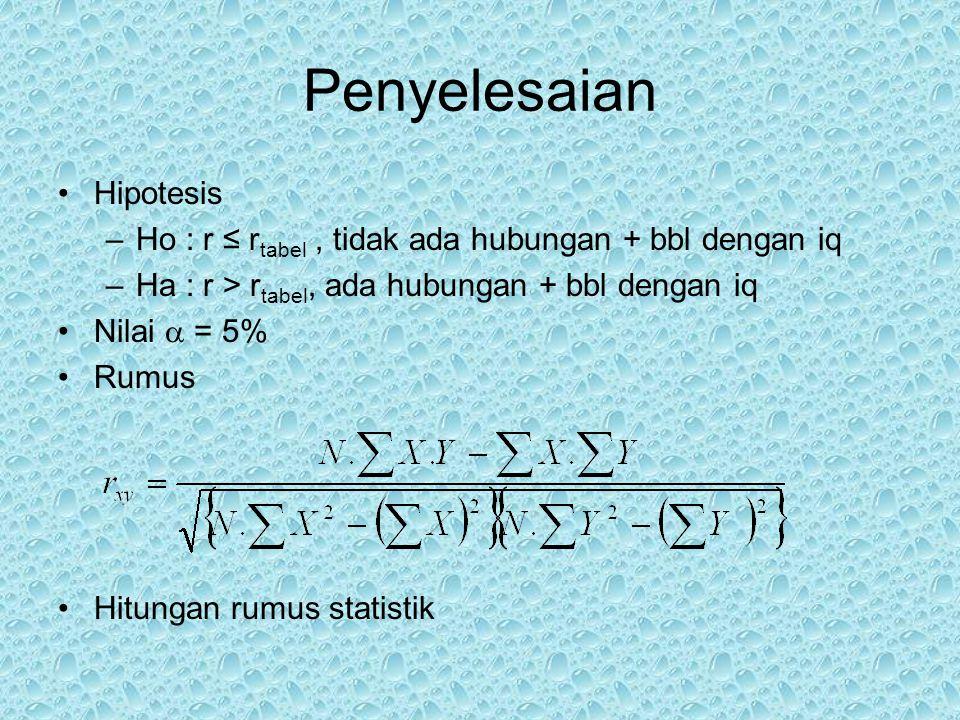 Nilai Df = n – 1 = 30 – 1 = 29 Nilai r tabel ; df=29 ;  = 0,05, maka r = 0,301 Daerah penolakan –  0,929  >  0,301  ; Ho ditolak,Ha diterima Kesimpulan Ada hubungan positif jarak dengan ph, pada  = 0,05