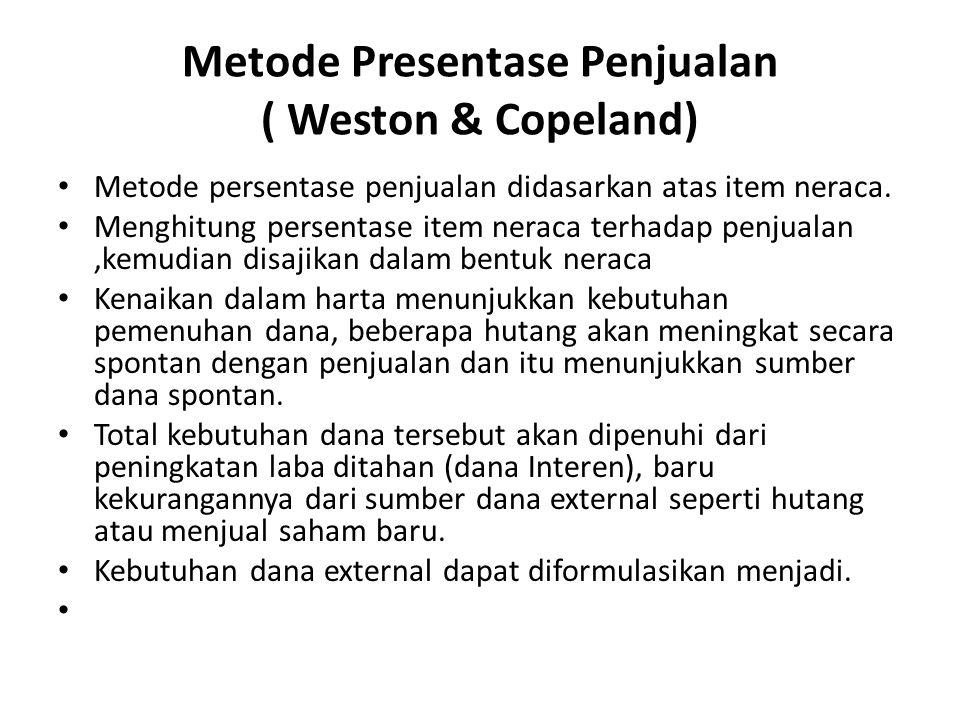 Metode Presentase Penjualan ( Weston & Copeland) Metode persentase penjualan didasarkan atas item neraca. Menghitung persentase item neraca terhadap p