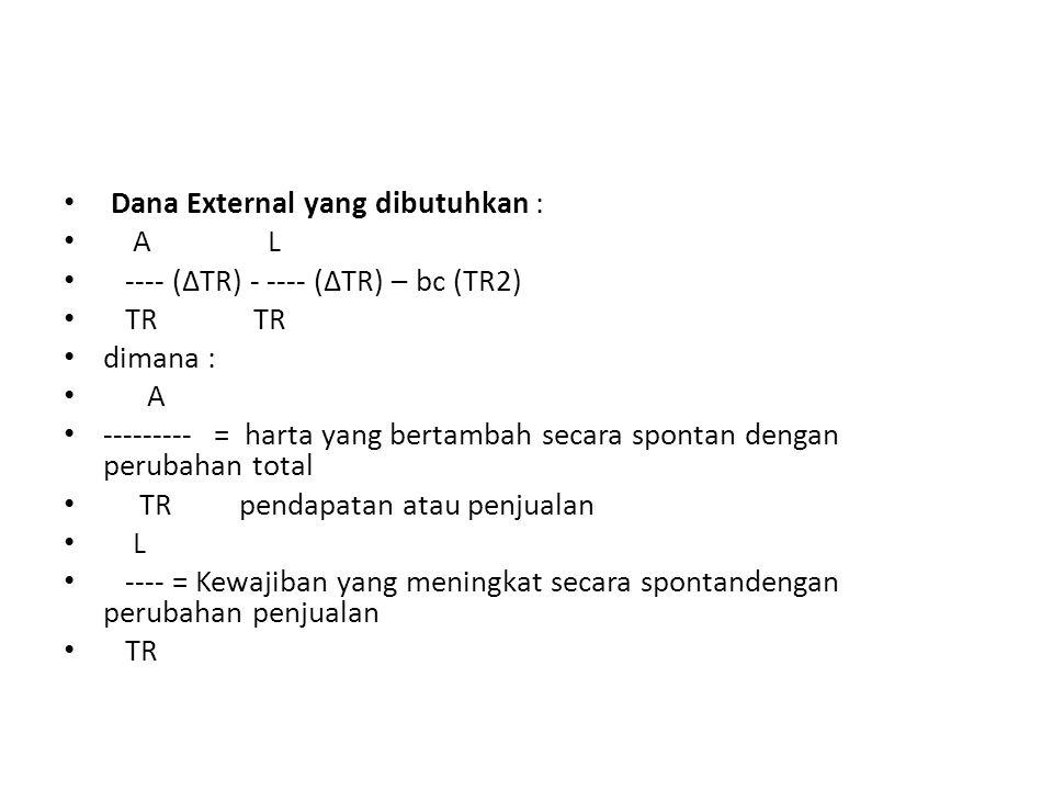 Dana External yang dibutuhkan : A L ---- (∆TR) - ---- (∆TR) – bc (TR2) TR TR dimana : A --------- = harta yang bertambah secara spontan dengan perubah