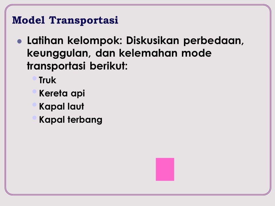 Model Transportasi Latihan kelompok: Diskusikan perbedaan, keunggulan, dan kelemahan mode transportasi berikut: Truk Kereta api Kapal laut Kapal terba