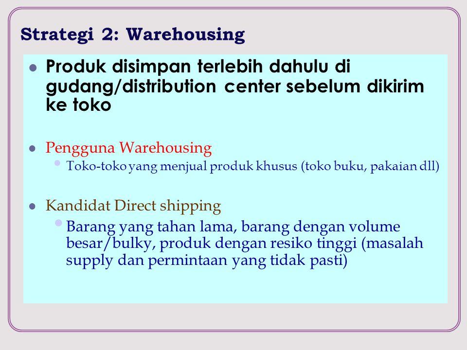 Strategi 2: Warehousing Produk disimpan terlebih dahulu di gudang/distribution center sebelum dikirim ke toko Pengguna Warehousing Toko-toko yang menj