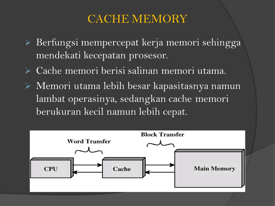 CACHE MEMORY  Berfungsi mempercepat kerja memori sehingga mendekati kecepatan prosesor.